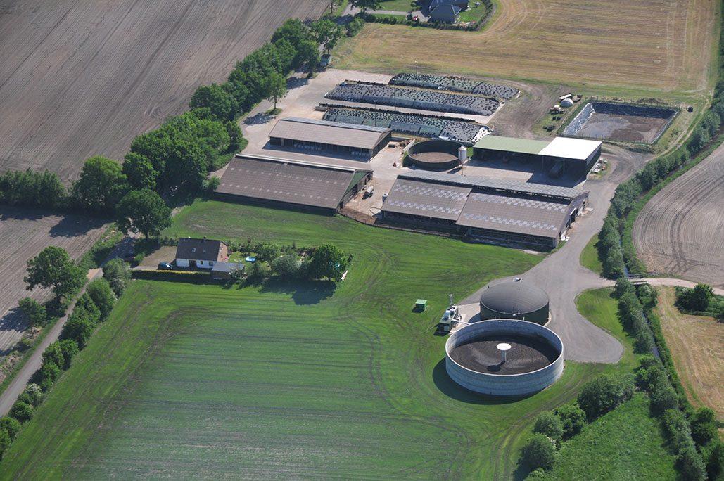 Drone view Individual Biogas Plant in Timmaspe, Deutschland